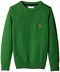 US Polo Association Boys' Sweater (UKSW5225_Medium Green_ES)