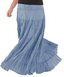 Skirts & Scarves Womens Casual 100% Cotton Long Maxi Skirt (Blue)