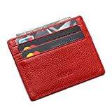 MEKU Slim Front Pocket Leather Wallet Business Credit Card Case Sleeve Minimalist Wallet Red
