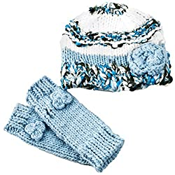 Peppercorn Kids Little Girls' Beanie Set with Mittens (Toddler/Little Kid) - Blue - L (4-6Y)