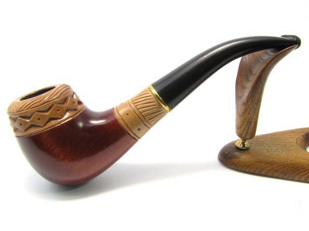 Pear Wood Hand Carved Tobacco Smoking Pipe Russian art + Pouch