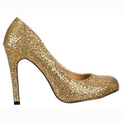 Onlineshoe Des femmes de dames d'or brillant miroitement Glitter - Mesh paillettes - Escarpins Stiletto - Or Gold Glitter UK6 - EU39 - US8 - AU7