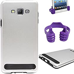 DMG Motomo Ultra Tough Metal Shell Case with Side TPU Protection for Samsung Galaxy A7 (Silver) + Mobile Holder Hand Stand