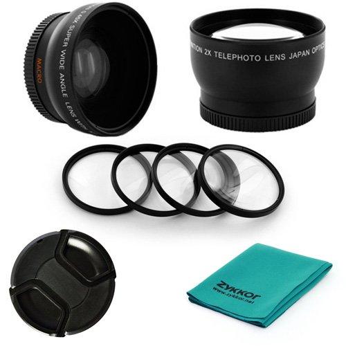 52Mm 0.45X Wide Angle + 2X Telephoto Lens Kit + Macro +1+2+4+10 Filter Set + Cap + Cloth For Pentax K20D, K200D, K2000 (K-M), K-7, K-X, K-R, K-5 , Fits 18-55Mm Lens