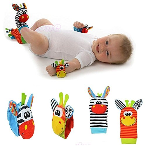 4pcs set Cute Animal Infant Baby Kids Hand Wrist Bell Foot Sock Rattles Soft Toy (Kids Laundry Center compare prices)