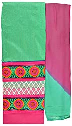 Hiya Women's Chanderi Long Unstitched Dress Material (Rose_4, Green)