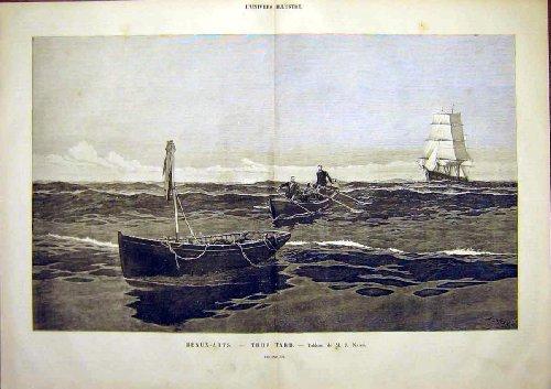Trop Tard Nash Boat Wreck Ship Sea French Print 1891