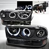 Chevy S10 Blazer Black SMD LED Halo Projector Headlights+Bumper Lamps