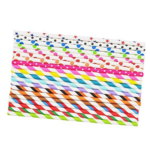 "Carejoy(TM) 7.75"" Paper Party Striped Straws Coloful Striped Drinking Straws Party Straws 50 Pcs"