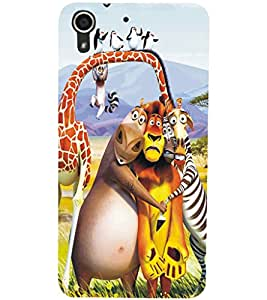 PrintDhaba Animated Animals D-5347 Back Case Cover for HTC DESIRE 728 (Multi-Coloured)