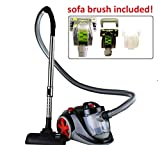 ovente st2010 featherlite cyclonic bagless canister vacuum with hepa filter and sofa brush corded