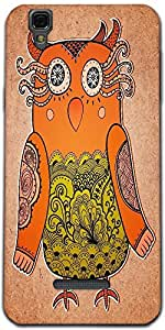 Snoogg Cute Owl On Real Cardboard Background Lacy Bird On Paper Designer Prot...