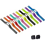 NEWLIBO 10PCS Colorful Replacement Accessory Wrist Bands with Black Metal Clasps for Garmin Vivofit (No Tracker, Replacement Bands Only) (Small)