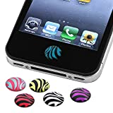 INSTEN 6 Pieces Zebra Patterns Home Button Sticker for new Apple iPhone 4S