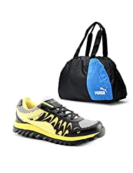 Elligator Black & Yellow Stylish Sport Shoes With Puma Duffle Bag For Men's