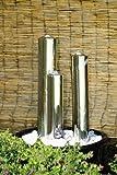 Köhko 97 cm Springbrunnen 22001 aus Edelstahl mit LED-Beleuchtung Säulenbrunnen