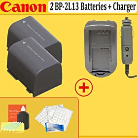 Two Canon BP-2L13 Lithium-Ion Batteries for Canon Digital Cameras + Rapid Home and Car Charger + Screen Protectore & MORE !!