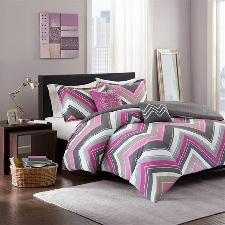Intelligent Design Elise 5 Piece Comforter Set, Full/Queen, Purple
