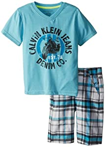 Calvin Klein Boys 2-7 Aqua V-Neck Tee with Plaided Short by Calvin Klein