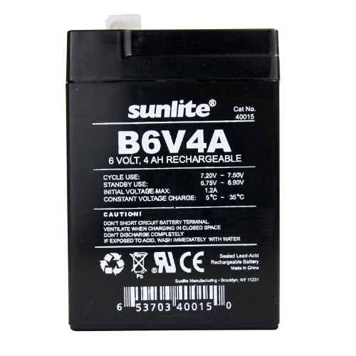 Sunlite 40015-SU B6V4A 4-Amp Hour Emergency Backup Battery, 6-volt