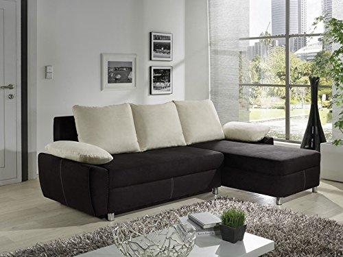 Ecksofa Nick 239x152cm natur schwarz Schlafsofa Couch Polsterecke Sofa Wohnlandschaft Eckcouch günstig online kaufen