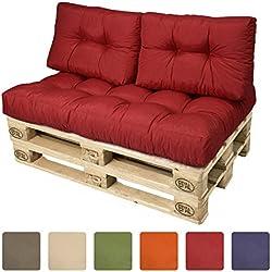 Beautissu® Cojines para palés - Cojines de apoyo 2x 60x40x10-20 cm - Color: Rojo - Cojín: Apoyo (2 piezas)
