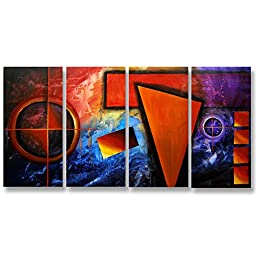 Neron Art - Handpainted Abstract Oil Painting on Gallery Wrapped Canvas Group of 4 pieces - Bari 32X16 inch (81X41 cm)