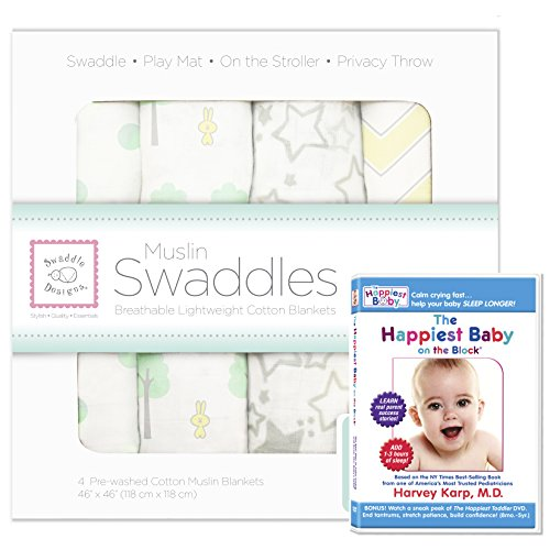 SwaddleDesigns Muslin Swaddle 4pack with The Happiest Baby DVD Bundle, Woodland Fun, SeaCrystal