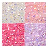 LOVEKITTY TM 400 pcs 3mm White,pink,fuchsia,lavender Mixed Colors AB Jelly Rhinestones Flatback 14-Facet