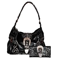 Montana West - Concealed Carry Purse - Rhinestone/Buckle Hobo with Matching Wallet (Black)