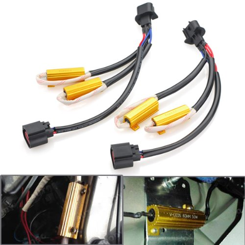 2X Error Free H13 9008 Plug And Play Heat Resistant Wiring Harness Extension Socket Connector Kit With Load Resistors For Upgrading Head Light Or Fog Lamp