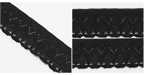 5yard Black Motif Filigree Spandex Trim Lace Elasticity 1
