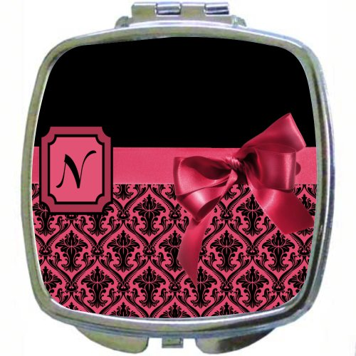 "Rikki Knighttm Letter ""N"" Red Monogram Damask Bow Design Compact Mirror front-608814"