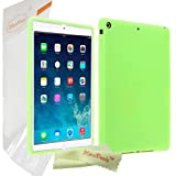 HoraDeals(TM) Newly Design Soft Rubber Gel Silicone Case Cover For Apple iPad Air / iPad 5 5rd 5G, Including One Microfiber Clean Cloth (Green)