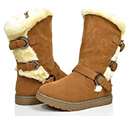 Dream Pairs KOREL Girls Winter Buckles Zipper Closure Fully Fur Lining Kids Snow Boots Camel Size 8
