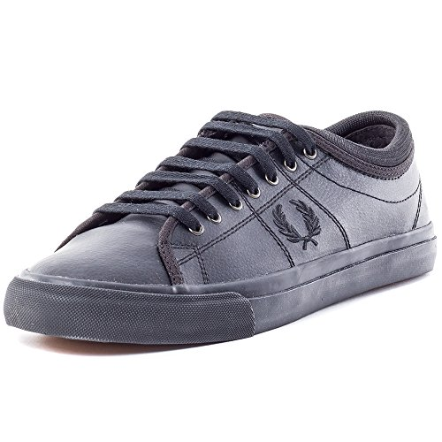Fred Perry Kendrick Tipped Cuff Leather Mens Leather Trainers Black Black - 42 EU
