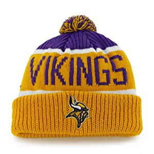 Minnesota Vikings Yellow Cuff Calgary Beanie Hat with Pom - NFL Cuffed Winter Knit... by Brand 47