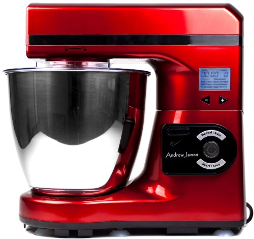Andrew James Large 7 Litre Automatic Red Food Stand Mixer - Powerful 1000 watt Motor -7 Automatic settings, Digital Control and LCD Display + 128 Page Food Mixer Cookbook