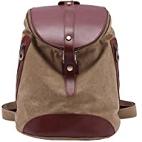 Kaxidy Canvas Leather Backpack Fashion Rucksack Shoulder Bag