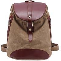 Kaxidy Canvas Leather Backpack Fashion Rucksack Shoulder Bag