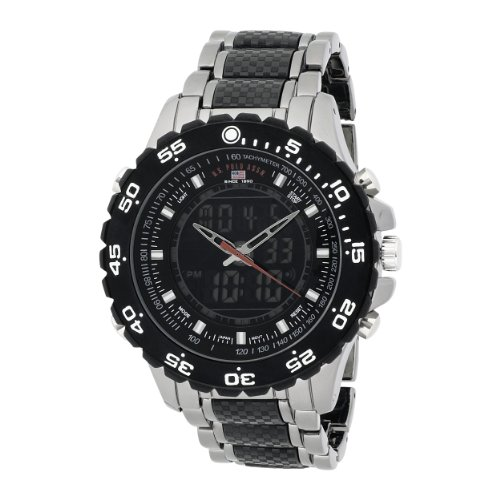 U.S. Polo Assn. Mens US8170 Analog-Digital Black Dial Gun Metal Bracelet Watch