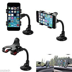 SBA Branded 100% ORIGINAL GENUINE QUALITY Universal Phone holder, Car Mount Holder With 360 Degree Rotation Suction Cup for Apple iPhone 6 PLUS/6/5s/5c, Samsung Galaxy S6/S5/S4 and Other Android Phones-BLACK