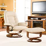 Adjustable Taupe Leather Recliner and Ottoman , Office Chair