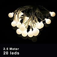 ELINKUME LED Warm White 2.5M Battery Operated Little Round Ball 20-LED Bulbs String Light by ELINKUME