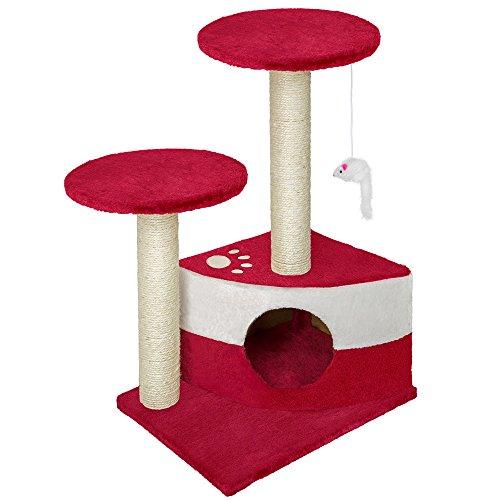 TecTake Tiragraffi per gatto gatti gioco nuovo rosso