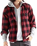 チェック柄ネルシャツ チェックシャツ 長袖 オンブレ メンズ カジュアル Mサイズ 2レッド