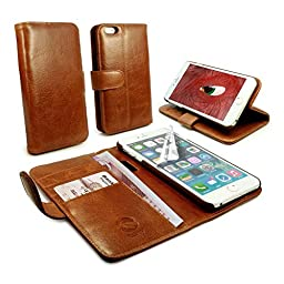 Tuff-Luv Vintage Genuine Leather Wallet-Style Case Cover for Apple iPhone 6 Plus - Brown