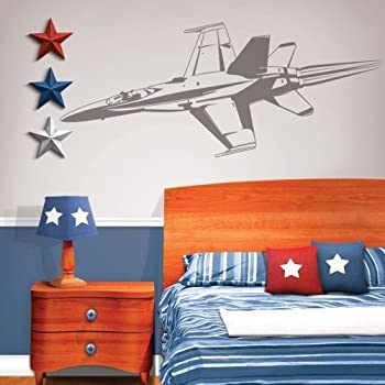 Cheap fighter jet wall applique 70x20 military plane for Boys airplane bedroom ideas