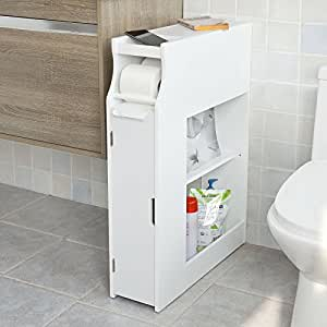 Sobuy White Bathroom Cabinet Toilet Paper Roll Holder Floor Standing Cabinet With Magazine