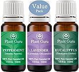 Plant Guru Beginner's Trio Essential Oil Set. 100% Pure Therapeutic Grade 10 ml. Set Includes: Eucalyptus, Lavender, Peppermint.